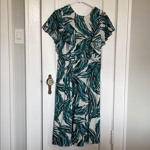 Linen Palm Print Midi Dress